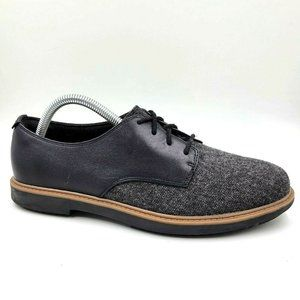 Clarks Raisie Bloom Black Leather Tweed Oxfords 9M